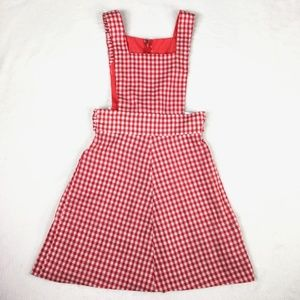 Vintage Checked Gingham Dotted Jumper Dress 50s